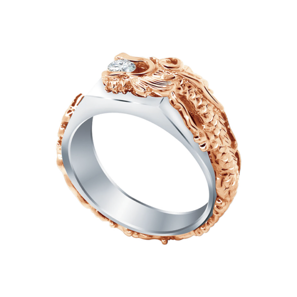 Solitaire Dragon Diamond Ring