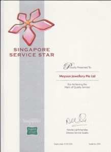 Meyson Jewellery Singapore Service Award